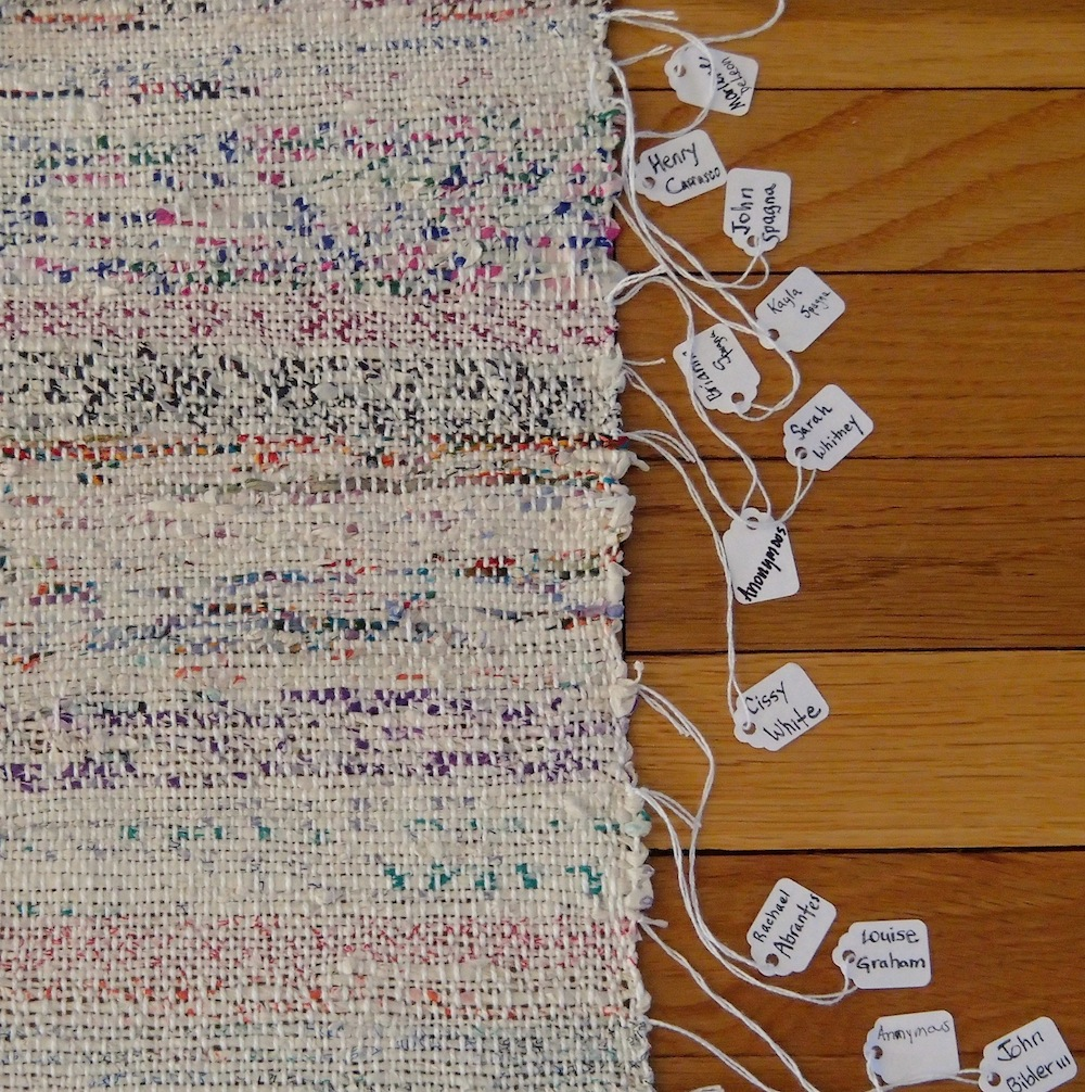 Weaving detail (1 of 2), Individual yarns identified with name tags, photo: Margaret Bellafiore